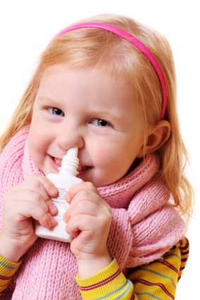 girl with nasal inhaler