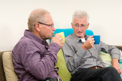 older men drinking coffee