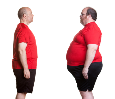 obese man before and after behavior changes