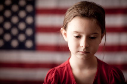 sad girl with US flag