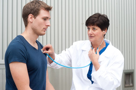 man seeing primary care physician